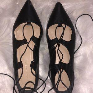 Loeffler Randell black leather lace up flats